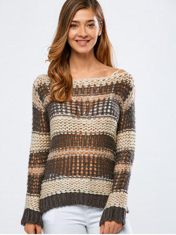 Discount Color Block Hollow Out Crochet Chunky Sweater