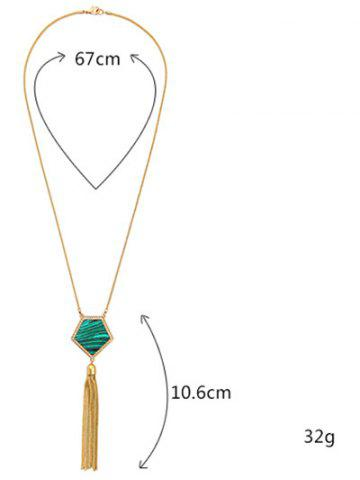 Hot Faux Gemstone Tassel Sweater Chain - GOLDEN  Mobile