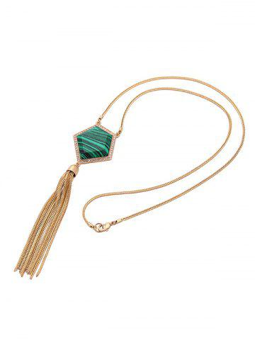 Discount Faux Gemstone Tassel Sweater Chain - GOLDEN  Mobile