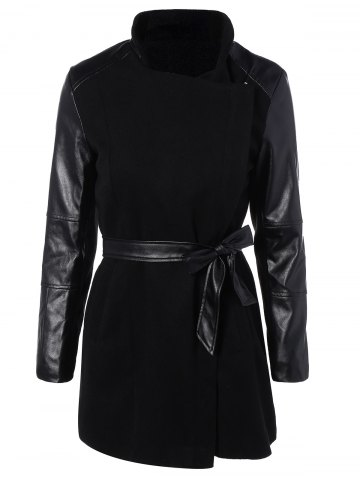 Best Belted High Collar Coat with Leather Sleeve