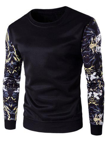Latest Rib Cuff Floral Sleeve Crew Neck Sweatshirt BLACK 5XL