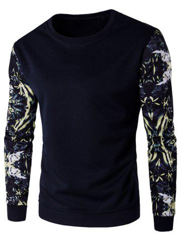 Cheap Rib Cuff Floral Sleeve Crew Neck Sweatshirt - XL CADETBLUE Mobile