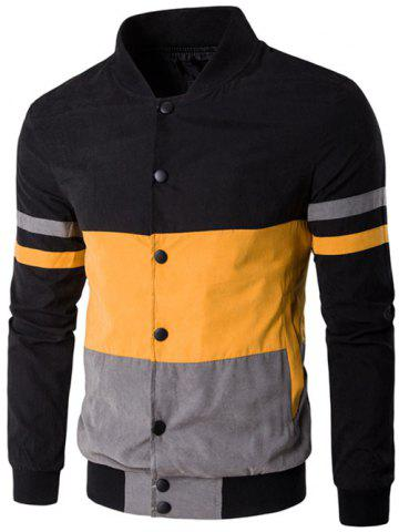 Online Color Matching Striped Snap Button Up Jacket YELLOW 5XL