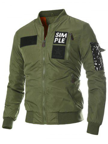 Online Appliques Stand Collar Zip-Up Thicken Jacket ARMY GREEN 3XL