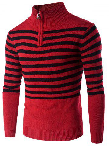 Sale Half Zip Up Stand Collar Striped Sweater RED 2XL