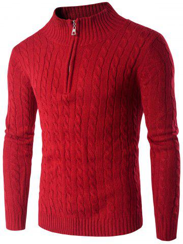 Unique Stand Collar Half Zip Up Twist Sweater RED 2XL