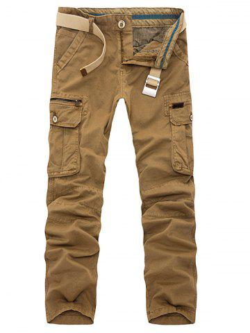 Discount Plus Size Pockets Embellished Slimming Cargo Pants EARTHY 38