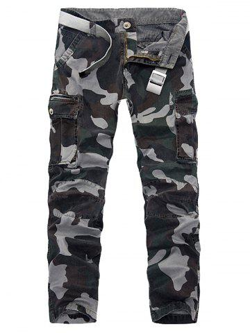 Discount Plus Size Pockets Embellished Camouflage Slimming Cargo Pants