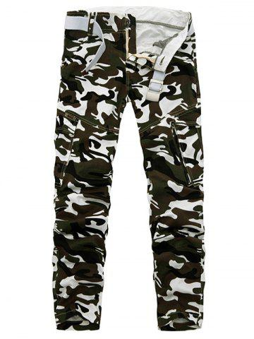 Shop Plus Size Pockets Camouflage Army Cargo Pants GRAY 31
