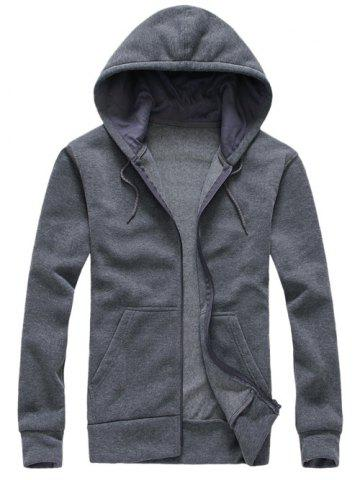 Shop Hooded Simple Zip-Up Hoodie GRAY 2XL