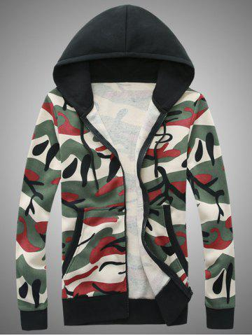 Shops Hooded Camouflage Zip-Up Hoodie RED M