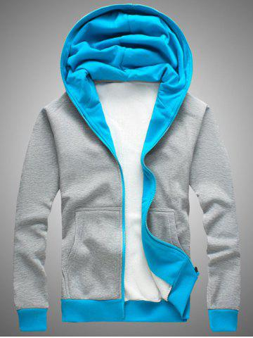 Shops Hooded Color Block Splicing Zip-Up Fleece Hoodie BLUE+GRAY 2XL