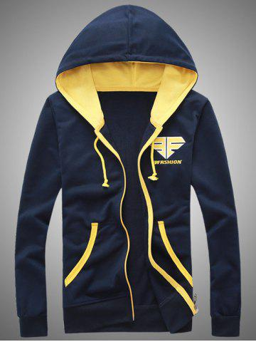 Hot Hooded Color Block Splicing Zip-Up Embroidered Hoodie CADETBLUE 2XL