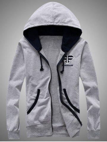 Hooded Color Block Splicing Zip-Up Embroidered Hoodie - Gray - M