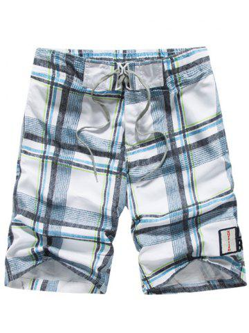 Store Tartan Pattern Lace-Up Straight Leg Shorts - XL LIGHT BLUE Mobile