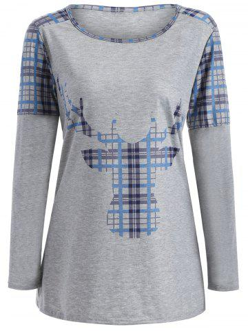 Discount Elk Print Plaid Christmas Long Sleeve T-Shirt - XL LIGHT BLUE Mobile