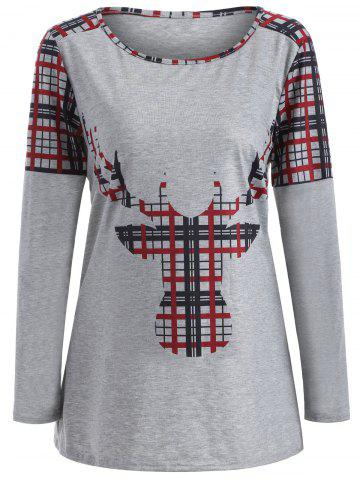 Outfit Elk Print Plaid Christmas Long Sleeve T-Shirt - L DEEP RED Mobile