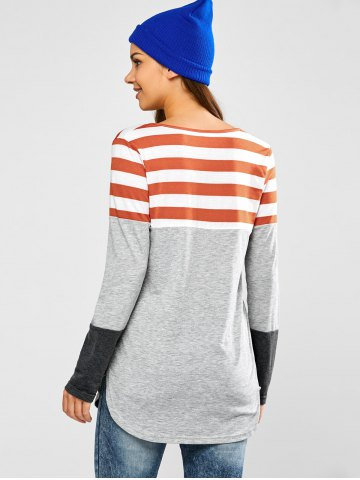 Buy Half Button Striped Tunic T-Shirt - S LIGHT GRAY Mobile