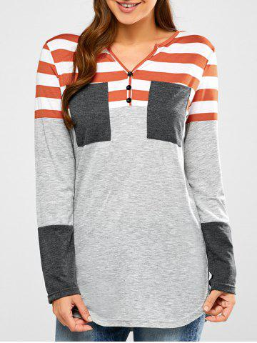 Sale Half Button Striped Tunic T-Shirt - S LIGHT GRAY Mobile