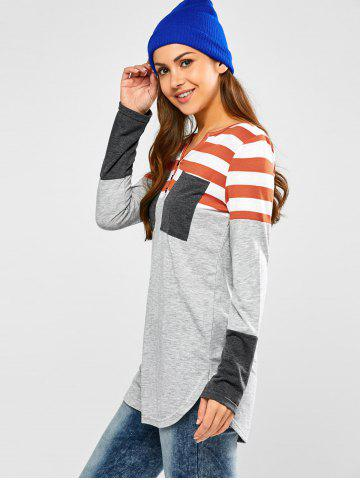 Store Half Button Striped Tunic T-Shirt - S LIGHT GRAY Mobile