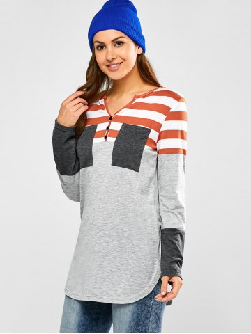 Chic Half Button Striped Tunic T-Shirt - S LIGHT GRAY Mobile