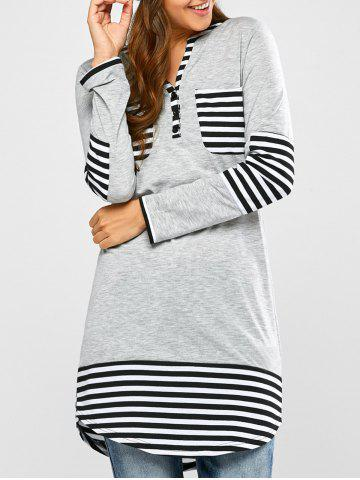 Store Striped Hem Pocket Tunic T-Shirt - L LIGHT GRAY Mobile