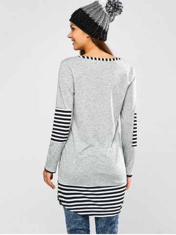 Fashion Striped Hem Pocket Tunic T-Shirt - L LIGHT GRAY Mobile