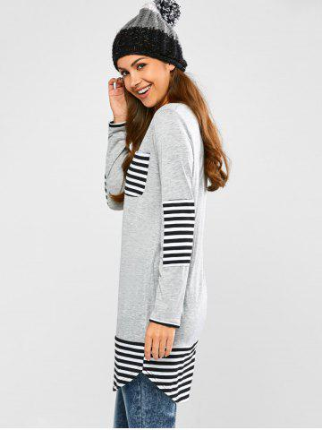 Unique Striped Hem Pocket Tunic T-Shirt - L LIGHT GRAY Mobile