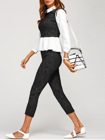 Discount Patchwork Blouse and Striped Pants Twinset