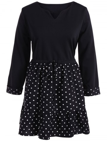 Unique Polka Dot Splicing Plus Size Dress