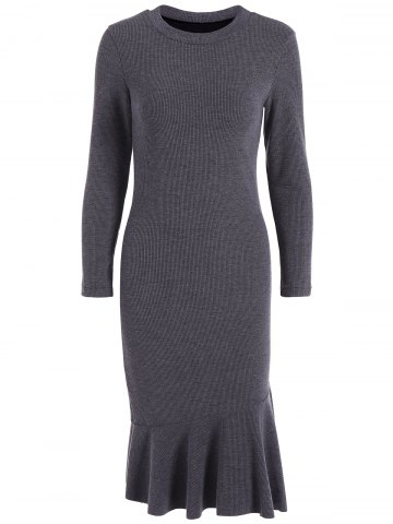 Online Long Sleeve Fitted Mermaid Midi Sweater Dress DEEP GRAY 4XL
