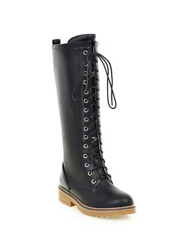 Sale Vintage PU Leather Lace Up Mid Calf Boots