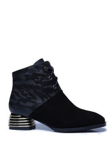 Best Lace Up Suqare Toe Chunky Heel Ankle Boots