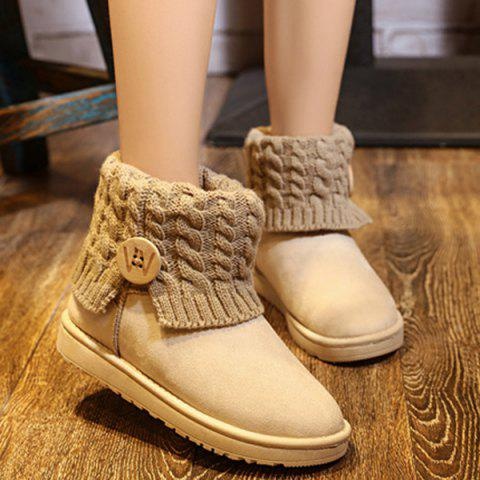 Buy Cable Knitted Flock Snow Boots
