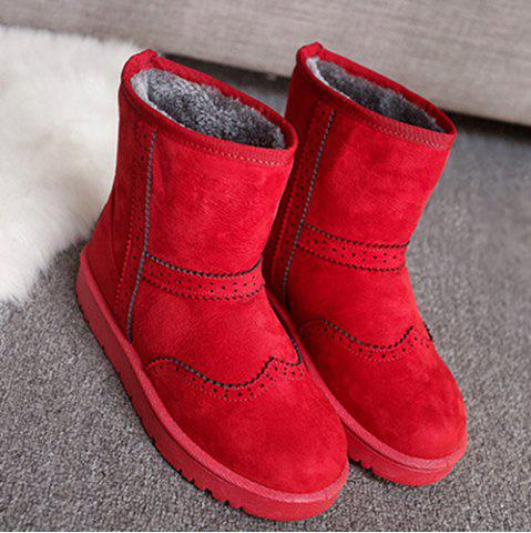 Chic Flock Engraving Flat Heel Snow Boots