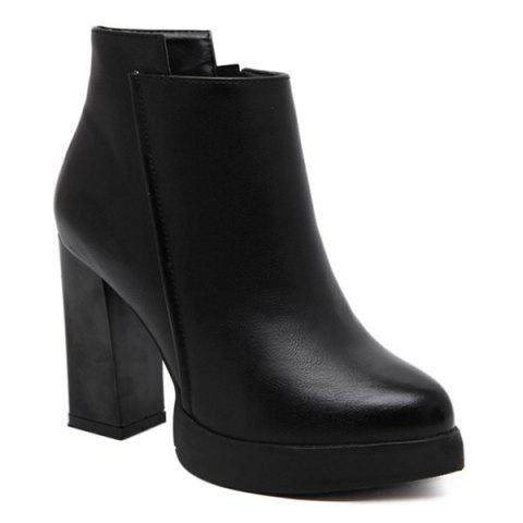 Store Platform Pointed Toe Chunky Heel Boots