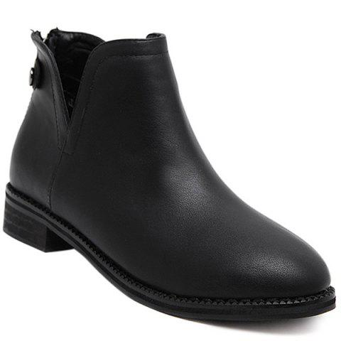 Fashion Back Zip PU Leather Ankle Boots