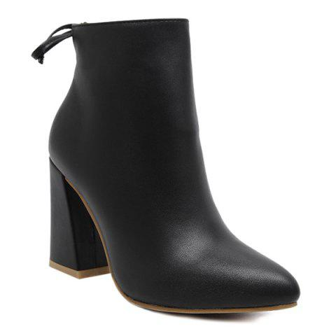Chic Conicse Pointed Toe Chunky Heel Boots BLACK 39