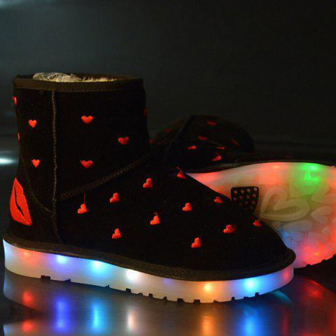 Lip Heart Embroidered Led Luminous Snow Boots - Black - 38