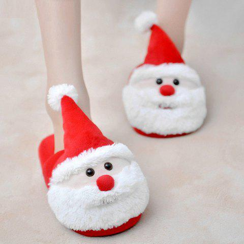 Sale Cartoon Flocking Christmas Slippers RED SIZE(40-41)