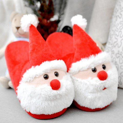 Latest Cartoon Flocking Christmas Slippers - SIZE(40-41) RED Mobile