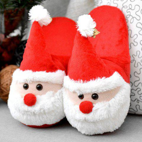 Online Cartoon Flocking Christmas Slippers - SIZE(40-41) RED Mobile