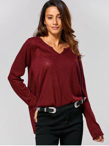 Sale Swing Plain Long Sleeve T-Shirt - XL WINE RED Mobile
