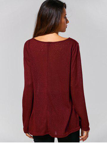 New Swing Plain Long Sleeve T-Shirt - XL WINE RED Mobile