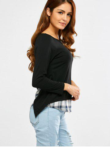 Buy Long Sleeve Faux Twinset Plaid T-Shirt - S BLACK Mobile