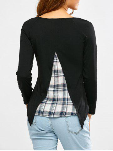 New Long Sleeve Faux Twinset Plaid T-Shirt - S BLACK Mobile