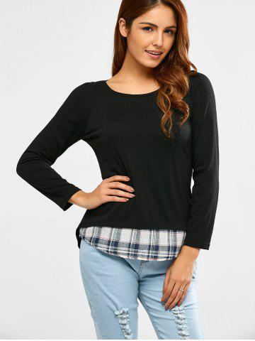 Outfit Long Sleeve Faux Twinset Plaid T-Shirt - S BLACK Mobile