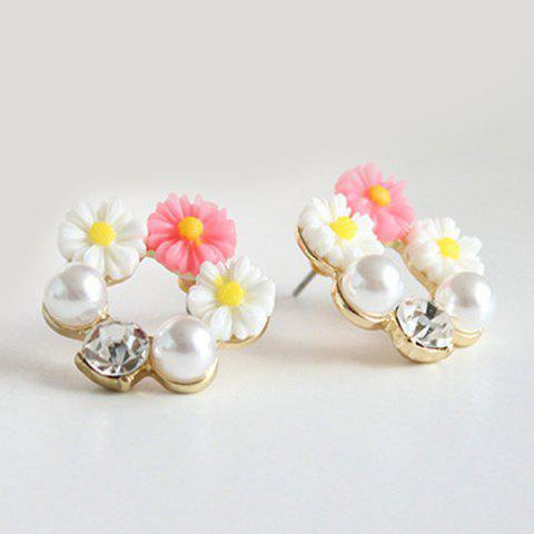 Buy Faux Pearl Rhinestone Flower Earrings