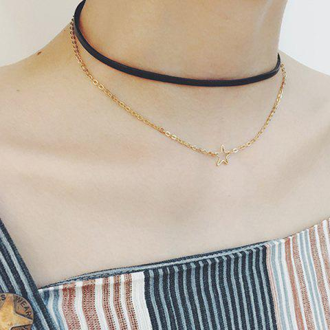 Shop PU Leather Star Layered Choker Necklace