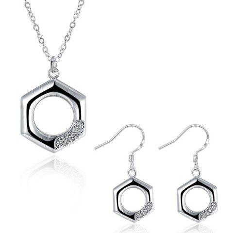 Unique Rhinestone Geometric Jewelry Set - SILVER  Mobile